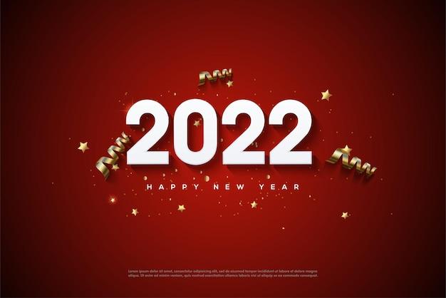 2022 bonne année avec des chiffres blancs et des rubans dorés éparpillés