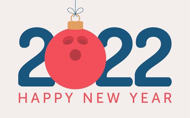 2022 bonne année illustration vectorielle de bowling. carte de voeux sports 2022 de style plat avec une boule de bowling sur le fond de couleur. illustration vectorielle.