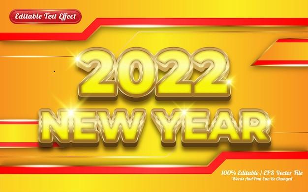 2022 bonne année luxe or effet de texte modifiable 3d