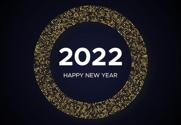 2022 bonne année de motif de paillettes d'or en forme de cercle. fond pointillé de demi-teinte rougeoyante abstraite d'or pour la carte de voeux de vacances de noël sur le fond foncé. illustration vectorielle