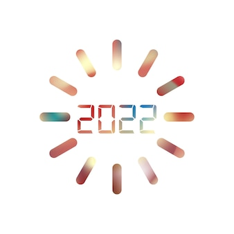 2022 bonne année. nombres de style numérique. nombres linéaires vectoriels. conception de carte de voeux. illustration vectorielle. vecteur libre