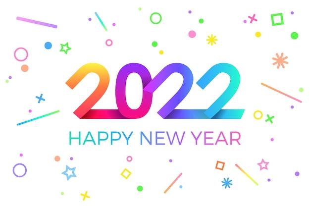 2022 bonne année. papier style géométrique memphis pour les dépliants de vacances et les cartes de bonne année.