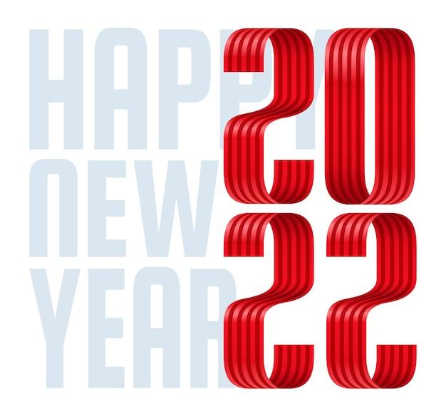 2022 bonne année ruban rouge carte de voeux de polices. nouvel an et noël conception de calendrier, de cartes de vœux ou d'impression. arrière-plans tendance design minimaliste.