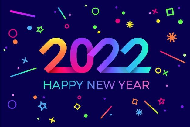 2022 happy new year paper memphis style lumineux géométrique pour les vacances et les cartes de bonne année