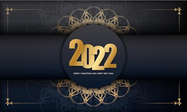 2022 joyeux noël carte de voeux noire avec ornement or luxueux