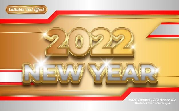 2022 nouvel an luxe doré style de modèle d'effet de texte modifiable 3d