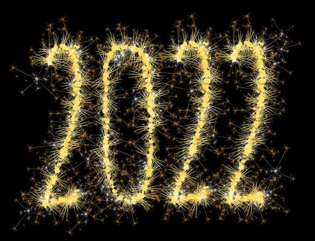 2022 numéros d'or brûlants étincelants