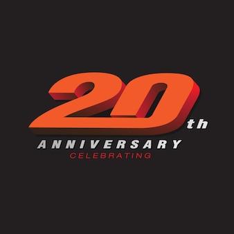 20e anniversaire célébrant la couleur rouge du logo 3d