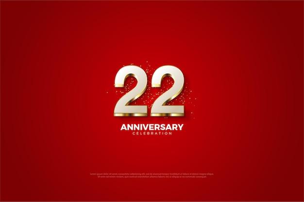 22e anniversaire avec numéro plaqué or luxueux