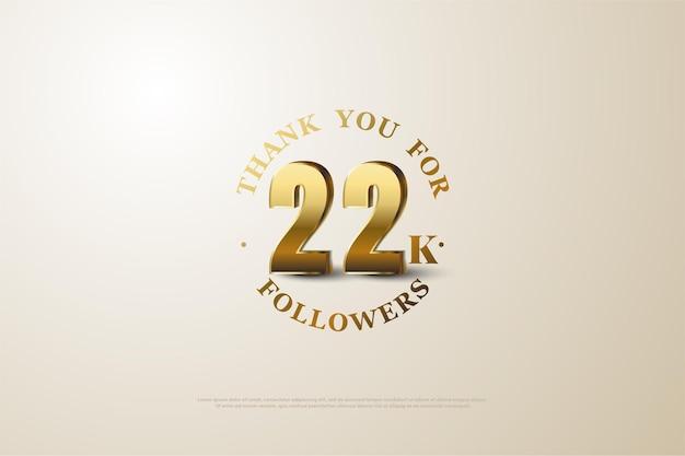 22k followers avec des chiffres dorés ombrés