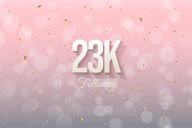 23 000 abonnés avec des chiffres 3d en relief