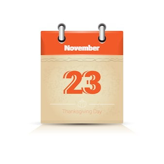 23 novembre calendrier page jour de thanksgiving automne traditionnel