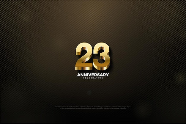 23e anniversaire avec de belles illustrations de numéros d'or