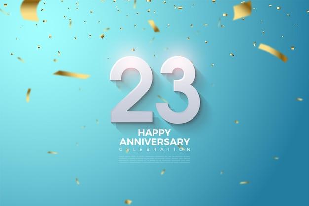 23e Anniversaire Avec L'illustration Des Chiffres Qui Surgissent Vecteur Premium