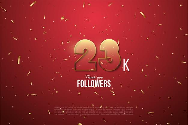 23k followers avec des chiffres transparents bordés d'or