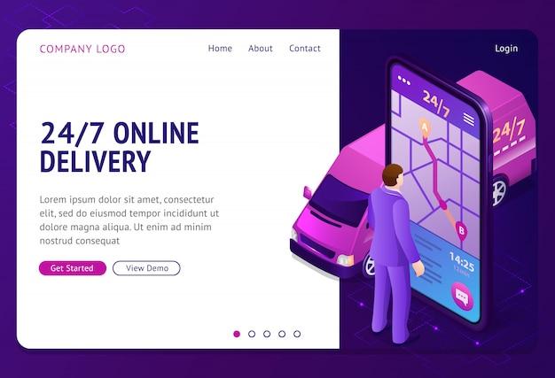 24 7 bannière de vecteur de livraison en ligne