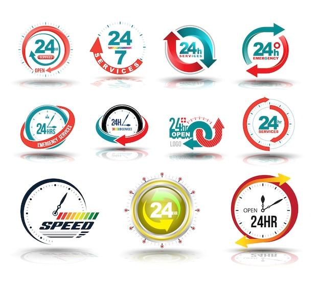 24 heures ouvert collection de service à la clientèle.