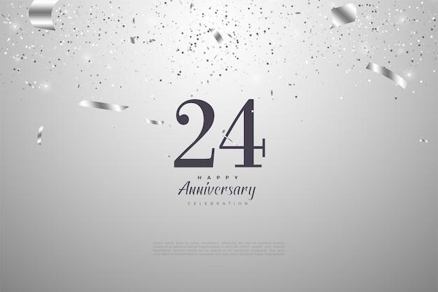 24e anniversaire avec des illustrations de feuilles d'argent dispersées