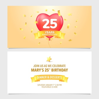 25 ans anniversaire carte d'invitation vector illustration