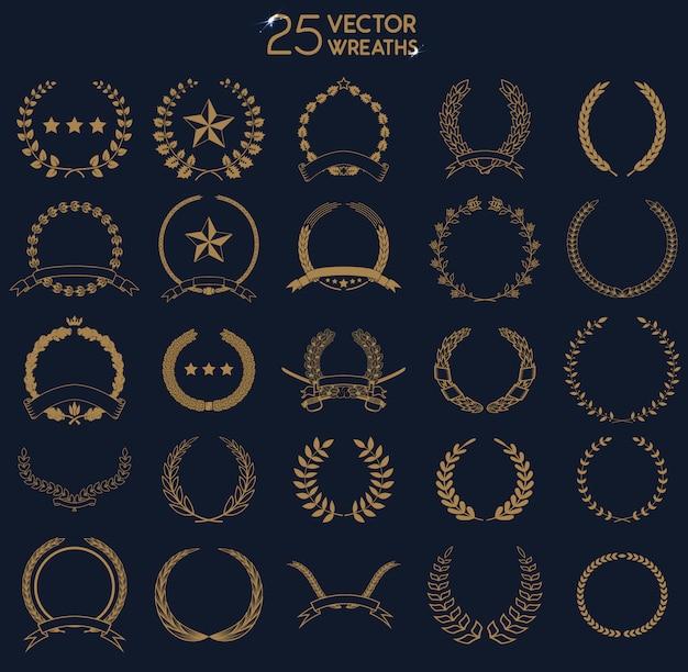 25 couronnes. ensemble de couronnes et de branches de laurier.