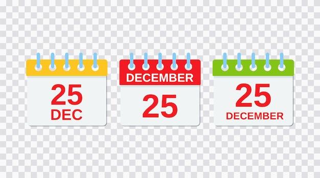 25 décembre, icône de calendrier de noël. illustration vectorielle.