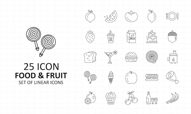 25 Fruits Et Nourriture Icône Feuille Pixel Parfait Icônes