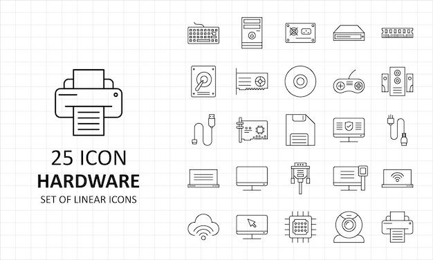 25 icônes matérielles feuille pixel perfect