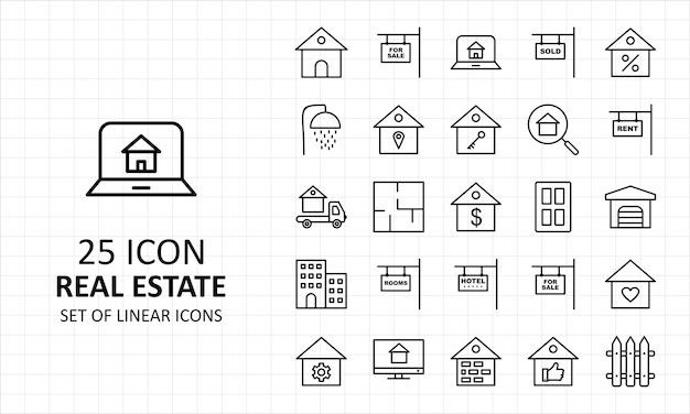 25 icônes parfaites de la feuille d'icônes de l'immobilier