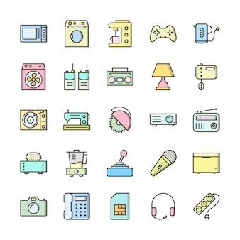 25 jeu d'icônes d'appareils électroniques