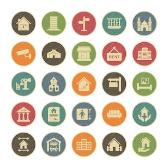 25 jeu d'icônes de l'immobilier