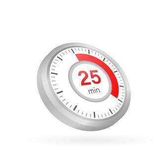Les 25 minutes, icône de vecteur de chronomètre
