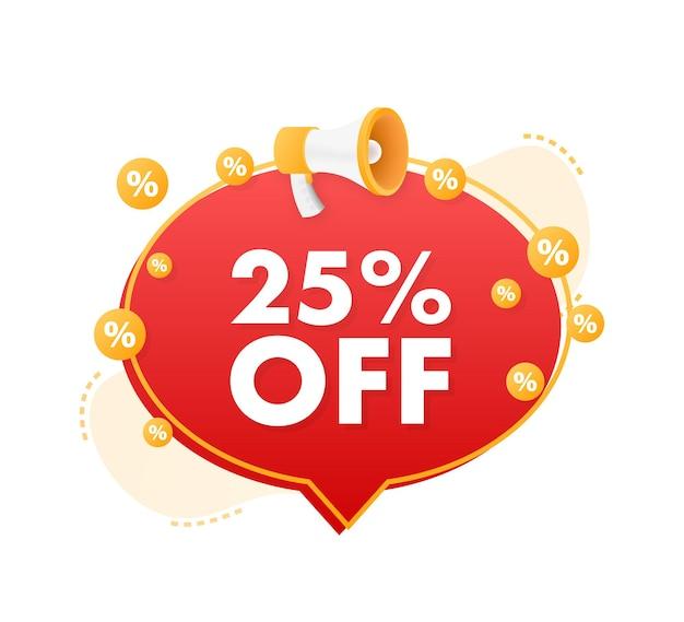 25 pour cent de réduction sur la bannière de réduction de vente avec l'étiquette de prix de l'offre de réduction de mégaphone