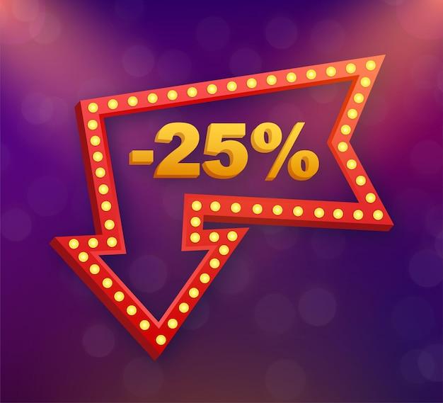25 pour cent de réduction sur la bannière de réduction de vente. étiquette de prix de l'offre de remise. icône plate de promotion de remise de 25 pour cent avec ombre portée. illustration vectorielle.