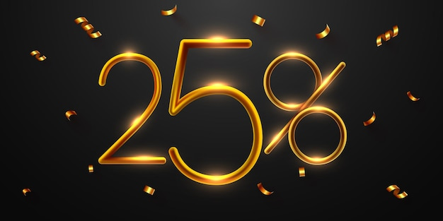 25 pour cent de réduction sur la composition créative 3d méga vente ou symbole de bonus de cinquante pour cent