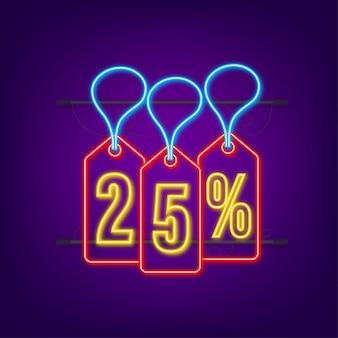 25 pour cent de réduction sur l'étiquette de néon de remise sur la vente