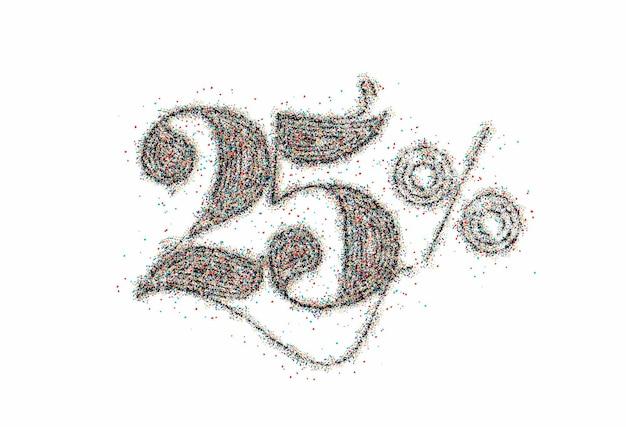 25% de réduction sur la bannière de remise sur la vente de particules. étiquette de prix de l'offre de remise. illustration vectorielle.