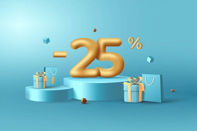 25 % de réduction sur les numéros de remise 3d gold sur le podium avec sac à provisions et coffret cadeau