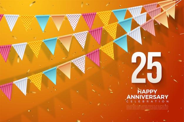 25e anniversaire avec une illustration de trois rangées de drapeaux et de chiffres en bas à droite.