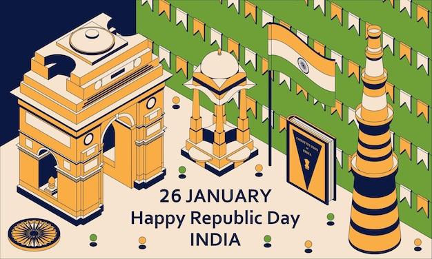 26 janvier fête de la république de l'inde. carte de voeux de style isométrique avec indian gates