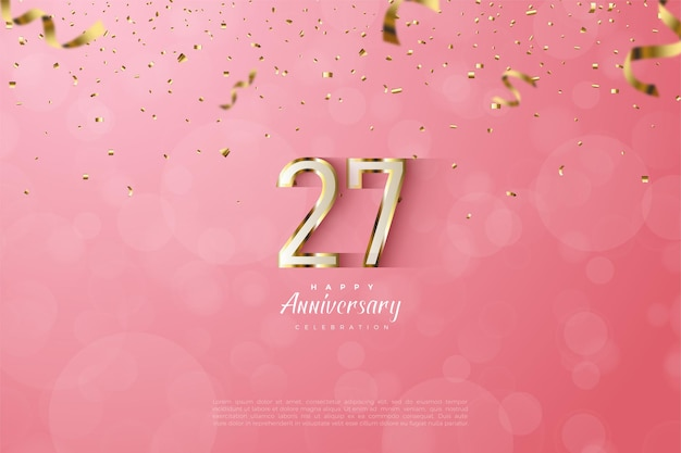 27e anniversaire avec des chiffres luxueux en or.