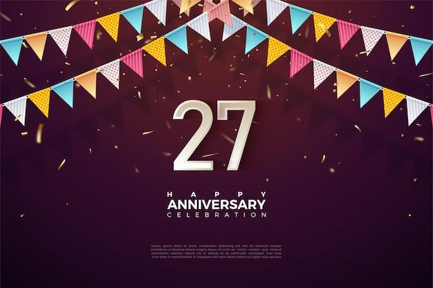 27e anniversaire avec numéros et illustration de drapeaux colorés.