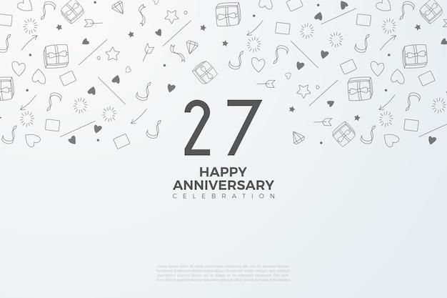 27e anniversaire avec de petites images en arrière-plan.