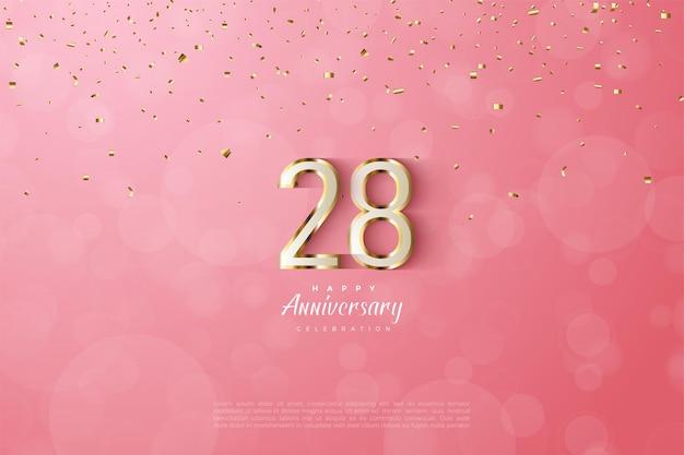 28e anniversaire avec bordure dorée luxueuse