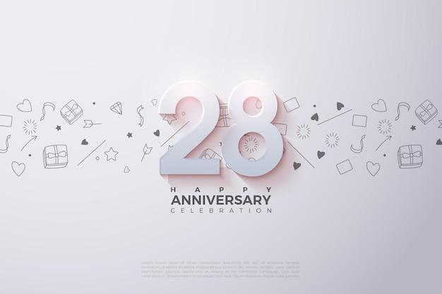 28e anniversaire avec des chiffres 3d doux