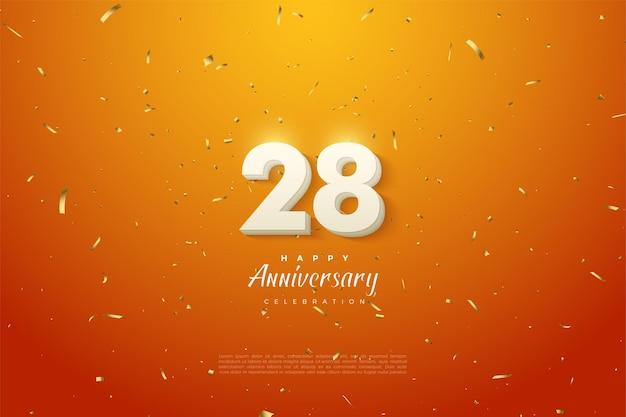 28e anniversaire avec des chiffres blancs en nuage