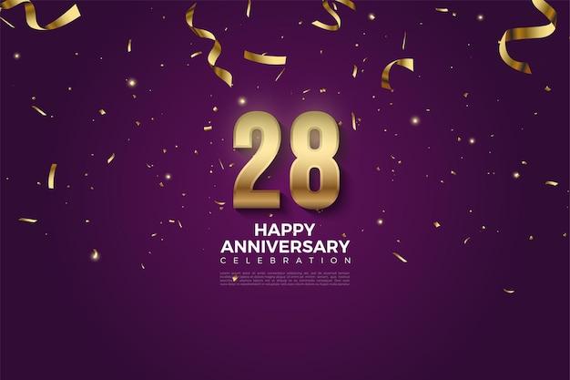 28e anniversaire avec chiffres et chute de ruban d'or