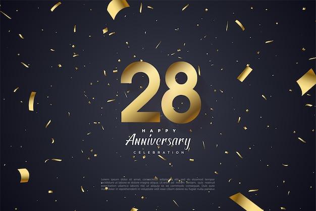 28e anniversaire avec chiffres et feuille d'or