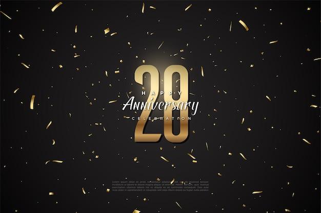 28e anniversaire avec chiffres et ficelles en or