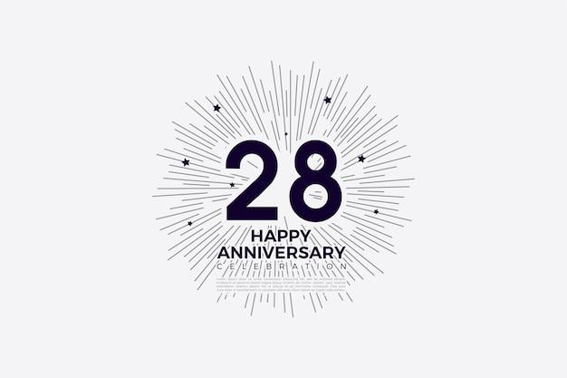 28e anniversaire avec des chiffres noirs sur fond blanc