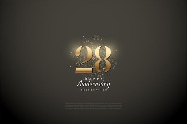 28e anniversaire avec des chiffres en or et des paillettes